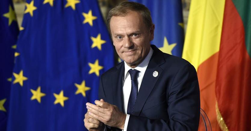 Il presidente del Consiglio Ue Donald Tusk durante le celebrazioni 60esimo anniversario dei Trattati di Roma in Campidoglio